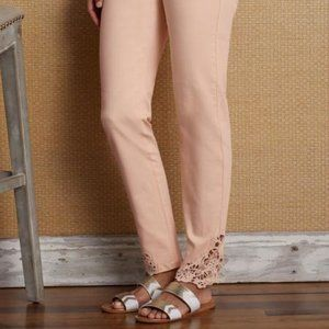 Soft Surroundings Touch of Lace Jeans Peach 4